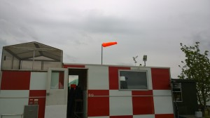 Our mobile control tower, complete with windsock, ready for the big weekend
