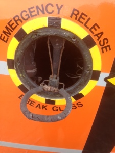 The little seen emergency release handle, photographed in the out position