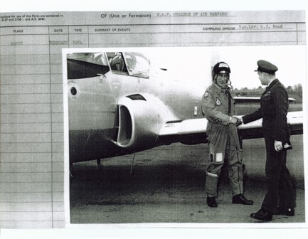 XS186 being handed over to the RAF at Manby in February 1964