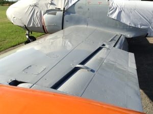 Newly painted port wing with inspection panels back in position