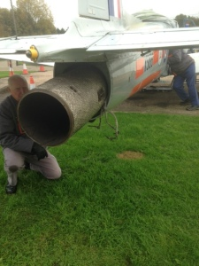 Jet pipe half out and Geoff ensures that the attachments are free moving from now on!