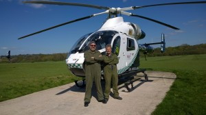Jonty and Dick standing proud in front of the Air Ambulance at Redhill