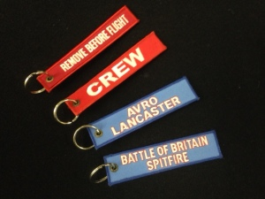 Key rings - REMOVE BEFORE FLIGHT, CREW, Avro Lancaster or Battle of Britain Spitfire - £4.00 each plus p&p